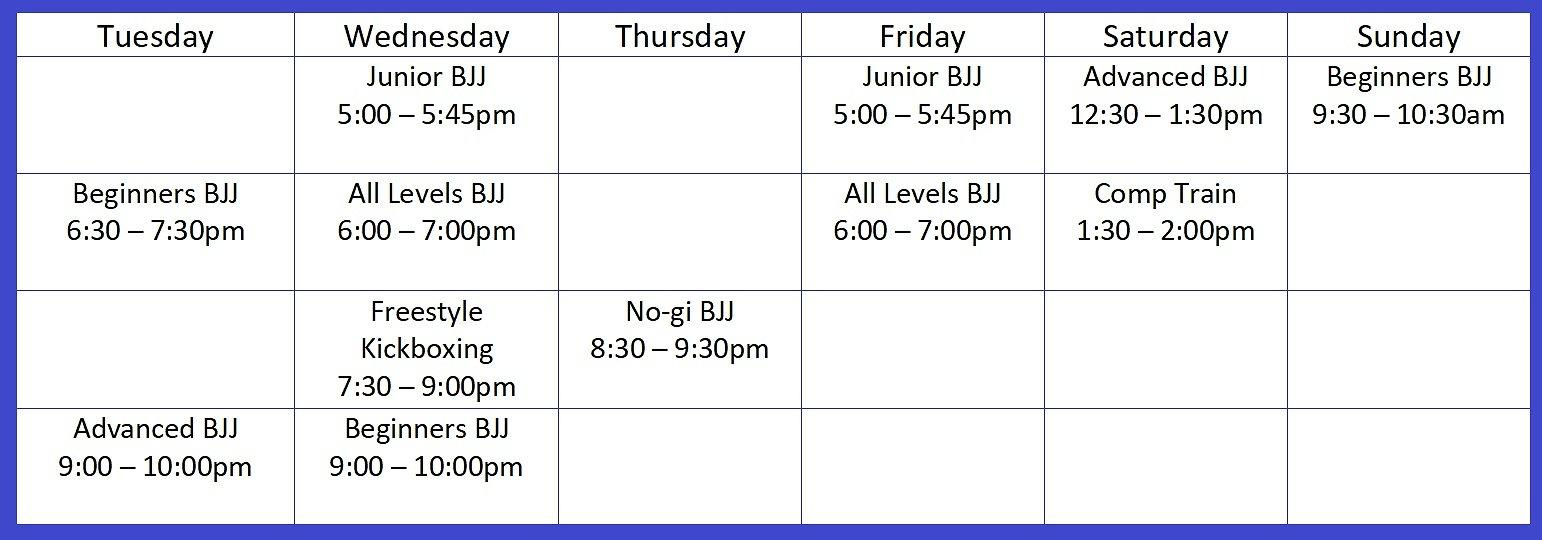 Membership Timetable